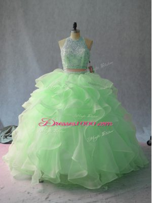 Traditional Sleeveless Backless Beading and Ruffles Quinceanera Dress