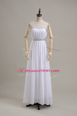 Floor Length White Wedding Gown Chiffon Sleeveless Beading