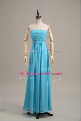 Smart Baby Blue Empire Chiffon Strapless Sleeveless Ruching Floor Length Zipper Homecoming Dress