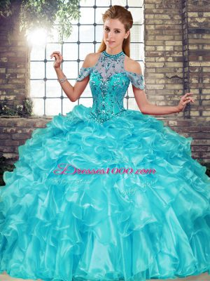 Stylish Sleeveless Floor Length Beading and Ruffles Lace Up Quinceanera Gown with Aqua Blue
