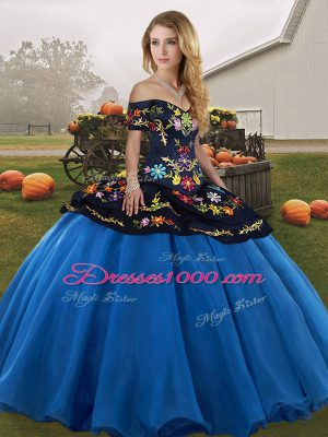 Most Popular Floor Length Lace Up Quinceanera Gowns Blue And Black for Military Ball and Sweet 16 and Quinceanera with Embroidery