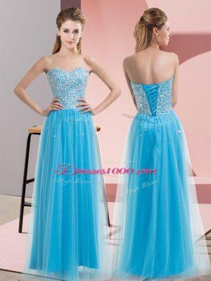 Custom Fit Aqua Blue Tulle Lace Up Evening Dress Sleeveless Floor Length Beading