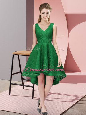 Fitting Dark Green Lace Zipper V-neck Sleeveless High Low Wedding Party Dress Lace