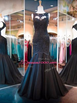 Black Mermaid Lace Pageant Dresses Backless Tulle Sleeveless Floor Length