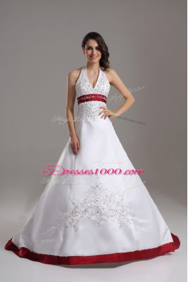 Pretty Halter Top Sleeveless Wedding Dress Brush Train Beading and Embroidery White Satin