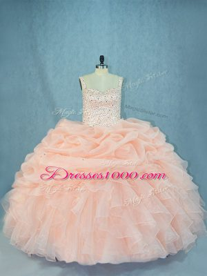 Hot Selling Peach Ball Gowns Beading 15 Quinceanera Dress Lace Up Organza Sleeveless