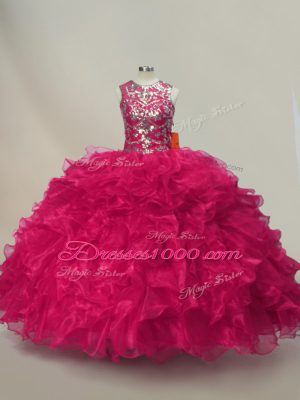 Beauteous Hot Pink 15th Birthday Dress Sweet 16 and Quinceanera with Ruffles and Sequins Sweetheart Sleeveless Lace Up