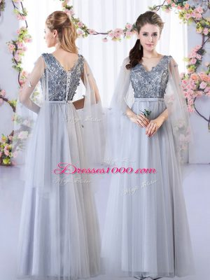 Grey Empire Appliques Court Dresses for Sweet 16 Lace Up Tulle Sleeveless Floor Length