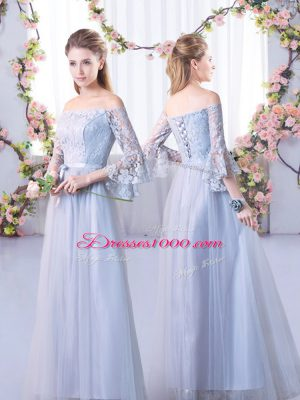 3 4 Length Sleeve Lace Up Floor Length Lace Damas Dress