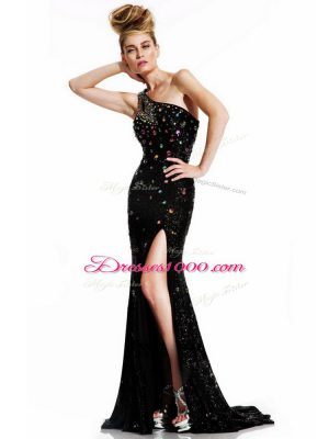 Wonderful Black Backless One Shoulder Sleeveless Prom Dresses Brush Train Beading
