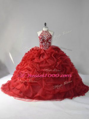 Lace Up Sweet 16 Dresses Wine Red for Sweet 16 and Quinceanera with Beading and Pick Ups Court Train