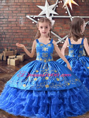 Royal Blue Lace Up Straps Embroidery and Ruffled Layers Child Pageant Dress Satin and Organza Sleeveless