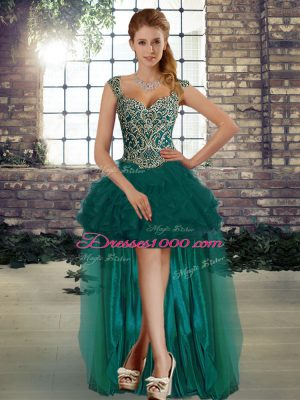 Organza Sleeveless High Low Pageant Dress for Teens and Beading and Ruffles