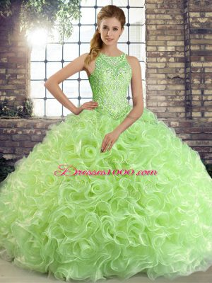 Lace Up Vestidos de Quinceanera Beading Sleeveless Floor Length