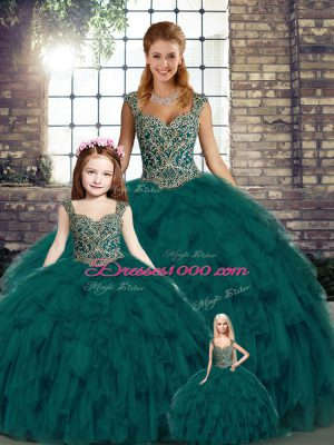 Peacock Green Organza Lace Up Sweet 16 Dresses Sleeveless Floor Length Beading and Ruffles