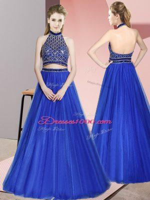 Fabulous Royal Blue Backless Dress for Prom Beading Sleeveless Floor Length