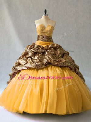 Chic V-neck Sleeveless Quince Ball Gowns Brush Train Beading and Pick Ups Gold Organza