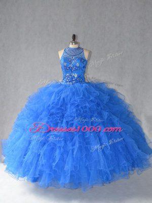 Custom Design Royal Blue Sleeveless Beading and Ruffles Floor Length 15th Birthday Dress