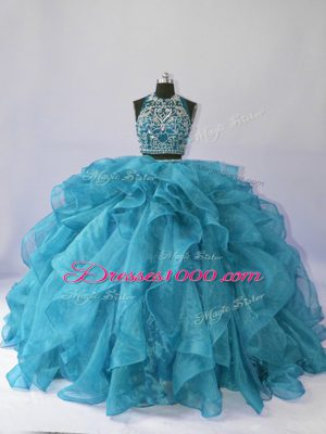 Suitable Teal Halter Top Neckline Beading and Ruffles Quinceanera Gowns Sleeveless Backless