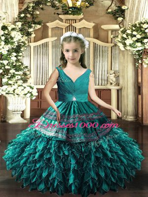 Teal V-neck Backless Beading and Appliques and Ruffles Kids Pageant Dress Sleeveless