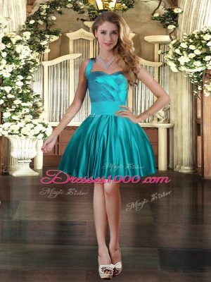 Hot Selling Halter Top Sleeveless Custom Made Mini Length Ruching Teal Satin