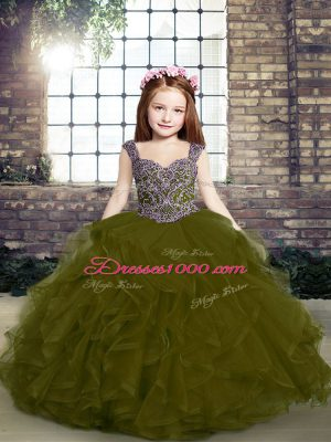 Low Price Olive Green Sleeveless Floor Length Beading and Ruffles Lace Up Pageant Gowns For Girls