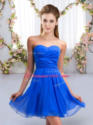Elegant Royal Blue Sleeveless Mini Length Ruching Lace Up Dama Dress