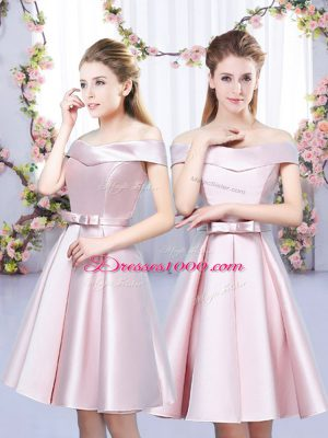 Super Satin Off The Shoulder Sleeveless Lace Up Bowknot Dama Dress for Quinceanera in Baby Pink