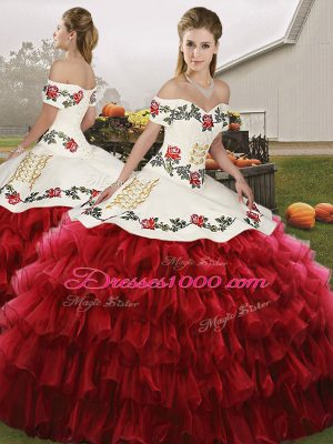 Comfortable Wine Red Sleeveless Embroidery and Ruffled Layers Floor Length Quinceanera Gown