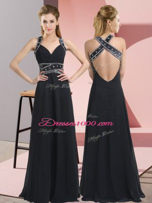 Modest Black Straps Backless Beading Prom Gown Sleeveless
