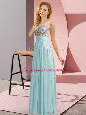Designer Aqua Blue Sleeveless Beading Floor Length Bridesmaids Dress
