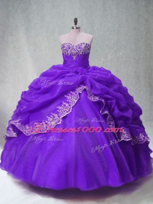 Purple Sweetheart Neckline Beading and Appliques and Pick Ups Vestidos de Quinceanera Sleeveless Lace Up