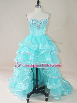 Smart Aqua Blue Sleeveless Beading and Lace and Ruffled Layers High Low Pageant Dress for Girls