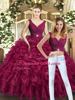 Nice Floor Length Backless 15th Birthday Dress Burgundy for Sweet 16 and Quinceanera with Beading and Ruffles