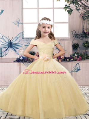 New Style Sleeveless Lace and Belt Lace Up Child Pageant Dress
