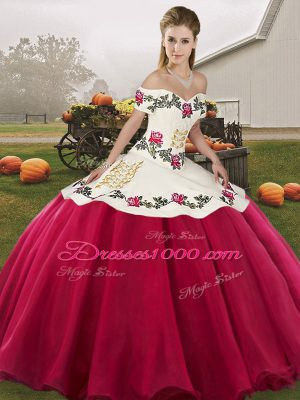 New Arrival Hot Pink Sleeveless Embroidery Floor Length 15th Birthday Dress