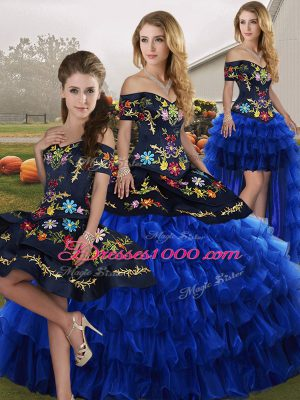 Charming Sleeveless Lace Up Floor Length Embroidery and Ruffled Layers Quinceanera Dresses