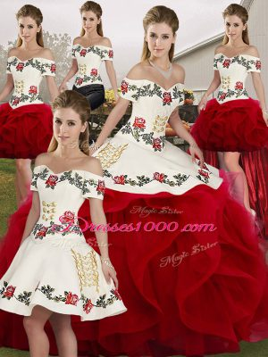 Sweet White And Red Ball Gowns Embroidery and Ruffles 15th Birthday Dress Lace Up Tulle Sleeveless Floor Length