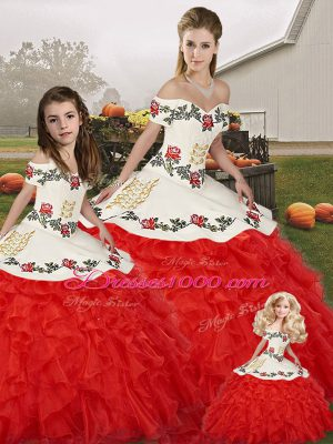 New Style Sleeveless Organza Floor Length Lace Up Sweet 16 Dresses in White And Red with Embroidery and Ruffles