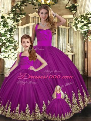 Glorious Halter Top Sleeveless Lace Up Quinceanera Gowns Fuchsia Tulle