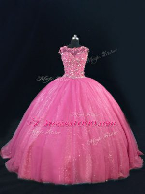 Glittering Sleeveless Tulle Floor Length Lace Up Quinceanera Gowns in Hot Pink with Beading and Lace and Sequins