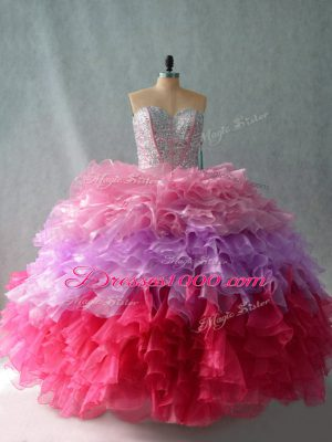 Sumptuous Floor Length Multi-color Quince Ball Gowns Sweetheart Sleeveless Lace Up