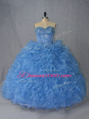 Vintage Blue Sweet 16 Quinceanera Dress Sweetheart Sleeveless Brush Train Lace Up