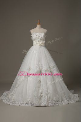 Sexy Ball Gowns Sleeveless White Bridal Gown Brush Train Lace Up