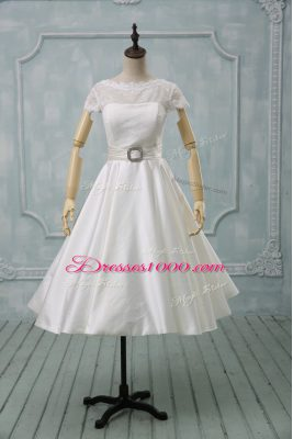 Short Sleeves Tulle Tea Length Clasp Handle Wedding Dresses in White with Lace and Sashes ribbons