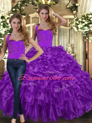 Free and Easy Halter Top Sleeveless Organza Quinceanera Gowns Ruffles Lace Up