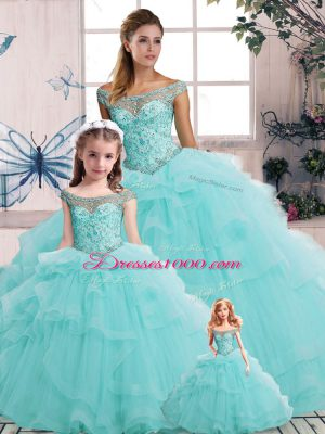 Traditional Aqua Blue Tulle Lace Up Off The Shoulder Sleeveless Floor Length Quinceanera Gowns Beading and Ruffles