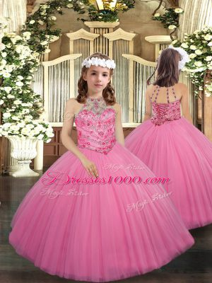 Rose Pink Little Girls Pageant Gowns Party and Sweet 16 and Wedding Party with Beading Halter Top Sleeveless Lace Up