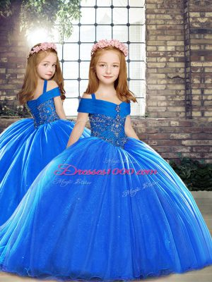 Sleeveless Brush Train Lace Up Pageant Gowns For Girls in Royal Blue with Beading