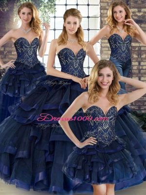 Navy Blue Sweet 16 Dresses Military Ball and Sweet 16 and Quinceanera with Beading and Ruffles Sweetheart Sleeveless Lace Up